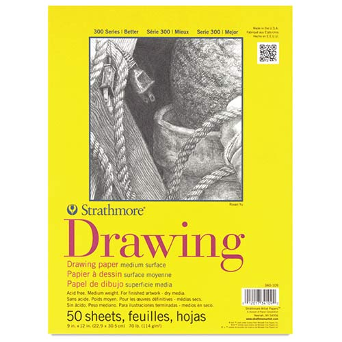 "Strathmore 300 Series Drawing Pad 9"" x 12"" - (50 sheets, 70lb) Bright White, Tape Bound"