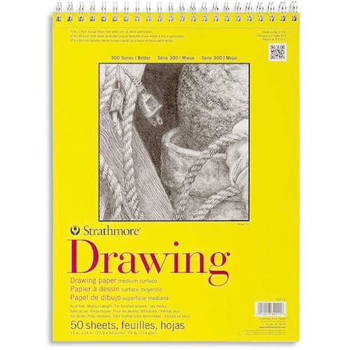 "Strathmore 300 Series Drawing Pad 11"" x 14"" - (50 sheets, 70lb) Bright White, Spiral Bound"