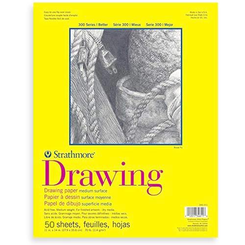 "Strathmore 300 Series Drawing Pad 11"" x 14"" - (50 sheets, 70lb) Bright White, Tape Bound"
