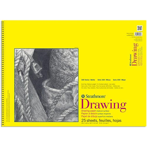 "Strathmore 300 Series Drawing Pad 18"" x 24"" - (25 sheets, 70lb) Bright White, Spiral Bound"