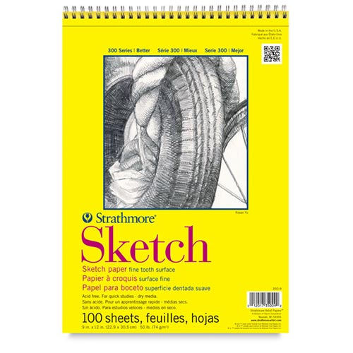"Strathmore 300 Series Sketch Pad 9"" x 12"" - (100 sheets, 50lb) Spiral Bound"