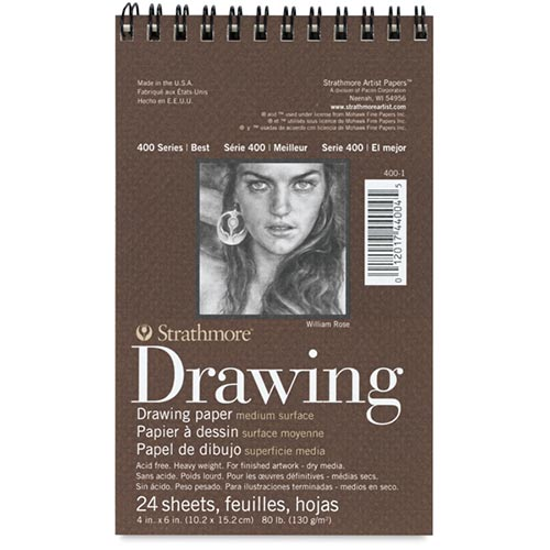 "Strathmore 400 Series Drawing Pad 4"" x 6"" - (24 sheets, 80lb) Medium, Spiral Bound"