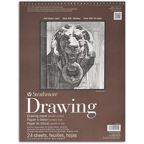 "Strathmore 400 Series Drawing Pad 11"" x 14"" - (24 sheets, 80lb) Smooth, Spiral Bound"