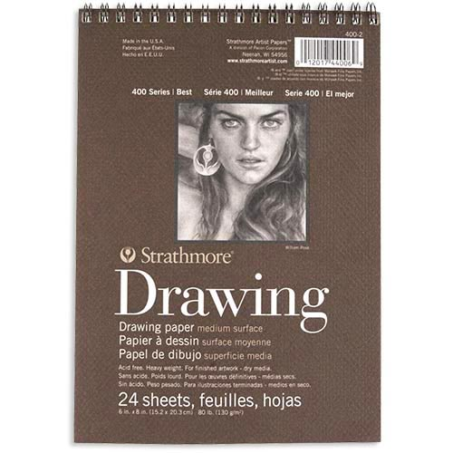 "Strathmore 400 Series Drawing Pad 6"" x 8"" - (24 sheets, 80lb) Medium, Spiral Bound"