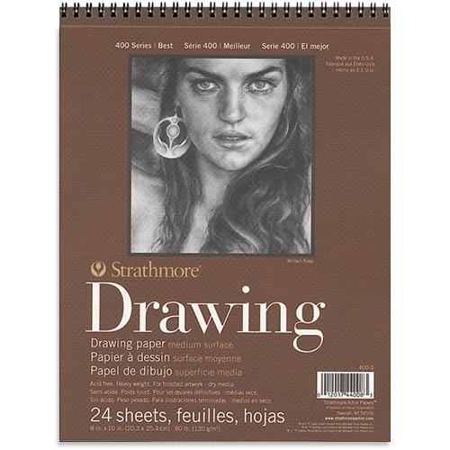 "Strathmore 400 Series Drawing Pad 8"" x 10"" - (24 sheets, 80lb) Medium, Spiral Bound"