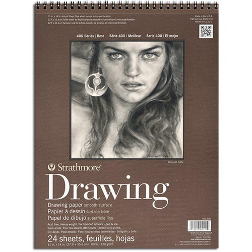 "Strathmore 400 Series Drawing Pad 11"" x 14"" - (24 sheets, 80lb) Medium, Spiral Bound"
