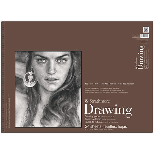 "Strathmore 400 Series Drawing Pad 12"" x 18"" - (24 sheets, 80lb) Medium, Spiral Bound"
