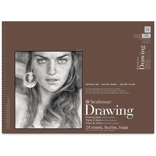 "Strathmore 400 Series Drawing Pad 18"" x 24"" - (24 sheets, 80lb) Medium, Spiral Bound"