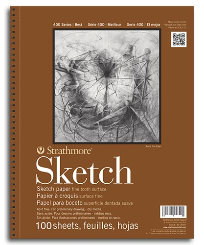 "Strathmore 400 Series Sketch Pad 11"" x 14"" - (100 sheets, 60lb) Spiral Bound"