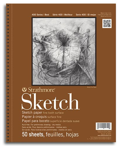 "Strathmore 400 Series Sketch Pad 9"" x 12"" - (50 sheets, 60lb) Spiral Bound"