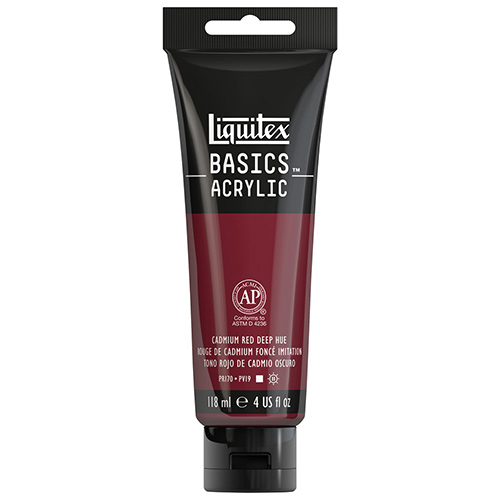 Liquitex Basics Acrylic Paint - (4oz/118ml) Cadmium Red Deep Hue