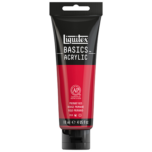 Liquitex Basics Acrylic Paint - (4oz/118ml) Primary Red