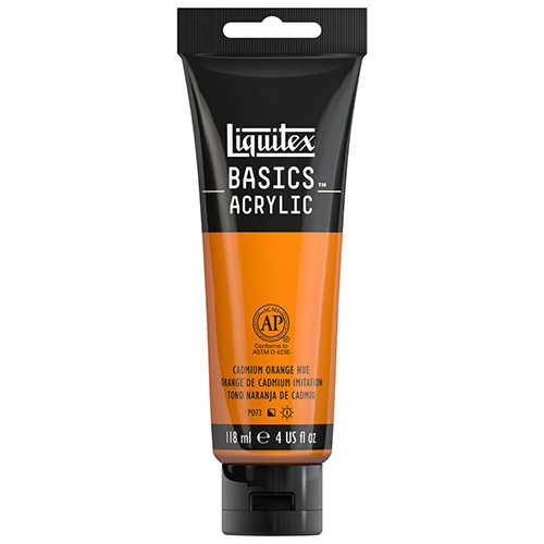 Liquitex Basics Acrylic Paint - (4oz/118ml) Cadmium Orange Hue