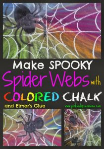 Colored Chalk and Glue spider Collage