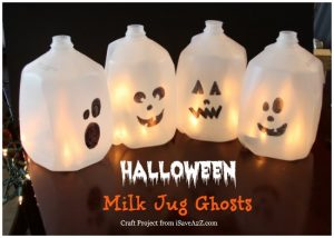Easy Halloween Craft ideas: Milk Jug Ghosts