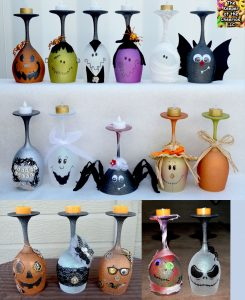 large group halloween wine glasses