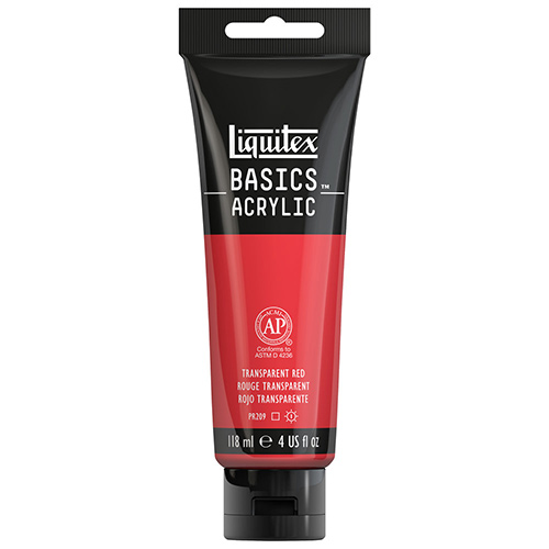Liquitex Basics Acrylic Paint - (4oz/118ml) Transparent Red