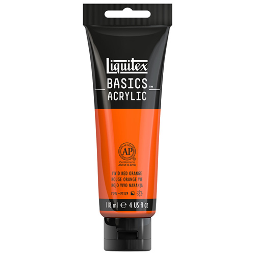 Liquitex Basics Acrylic Paint - (4oz/118ml) Vivid Red Orange
