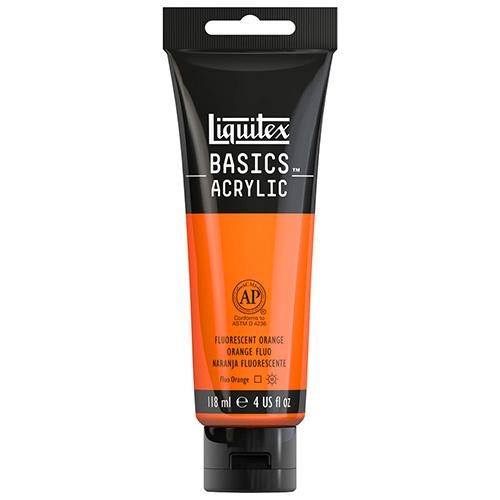 Liquitex Basics Acrylic Paint - (4oz/118ml) Fluorescent Orange