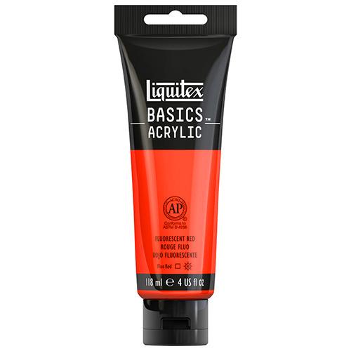Liquitex Basics Acrylic Paint - (4oz/118ml) Fluorescent Red