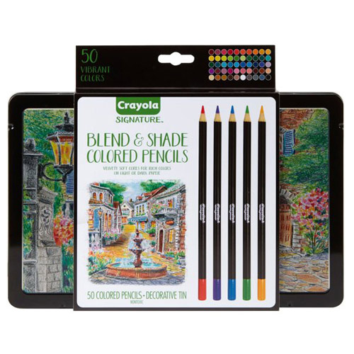 Crayola Signature Blend and Shade Colored Pencils with Tin - (50 Pack)