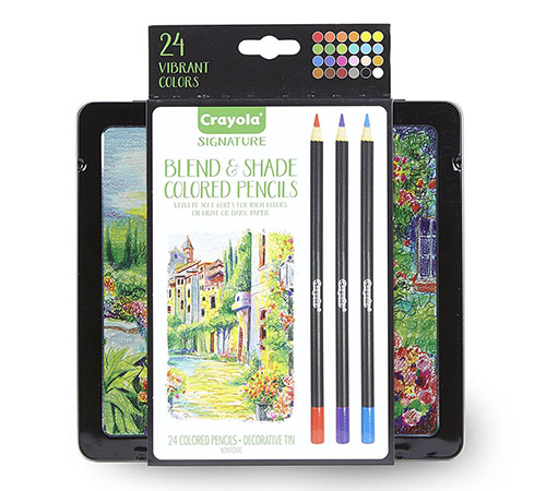 Crayola Signature Blend and Shade Colored Pencils with Tin - (24 Pack)