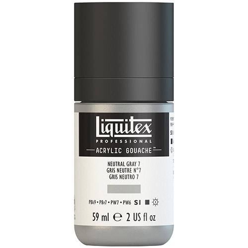 Liquitex Professional Acrylic Gouache Paint - (2oz/59ml) Neutral Gray 7
