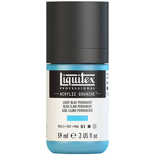 Liquitex Professional Acrylic Gouache Paint - (2oz/59ml) Light Blue Permanent