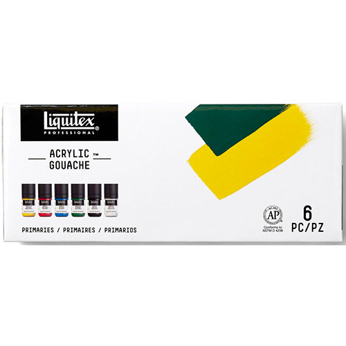 Liquitex Professional Acrylic Gouache Paint Set (0.7oz/22ml) - (6 Pack) Primaries