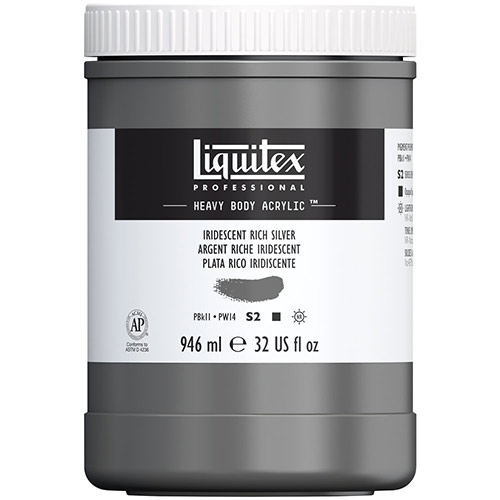 Liquitex Professional Heavy Body Acrylic Paint - (32oz/946ml) Iridescent Rich Silver
